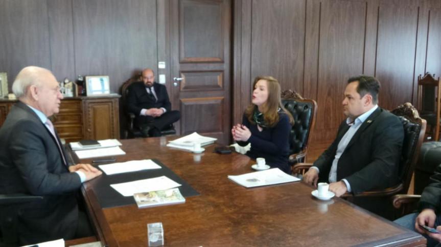 Presidente da Alep, deputado Ademar Traiano, com o deputado estadual Subtenente Everton e a deputada federal Leandre (PV) em conversa sobre o Marco Legal da Primeira Infância.