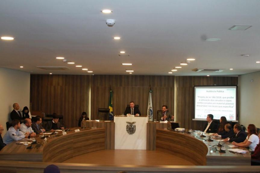 O debate foi organizado pelos deputados Goura (PDT), Emerson Bacil (PSL) e Paulo Litro (PSDB).