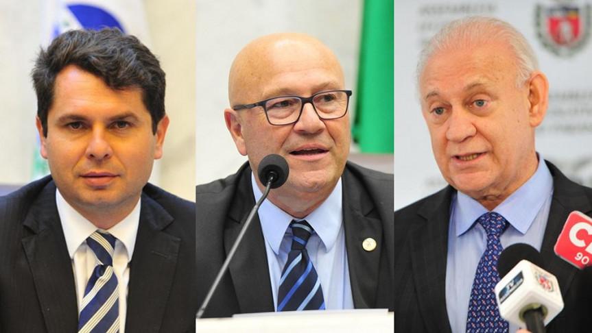 Deputados Alexandre Curi, Luiz Claudio Romanelli e Ademar Traiano são os autores do projeto que prevê a disponibilização de produtos antissépticos em banheiros de uso coletivo.