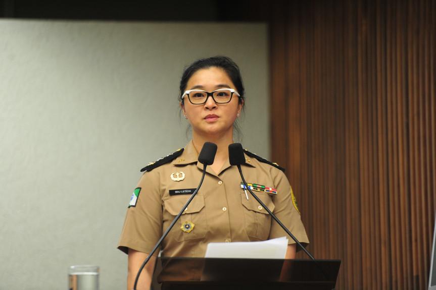 Major Letícia Chun Pei Pan usou a tribuna durante a sessão plenária desta segunda-feira (28) para falar sobre o Hospital da Polícia Militar do Paraná.