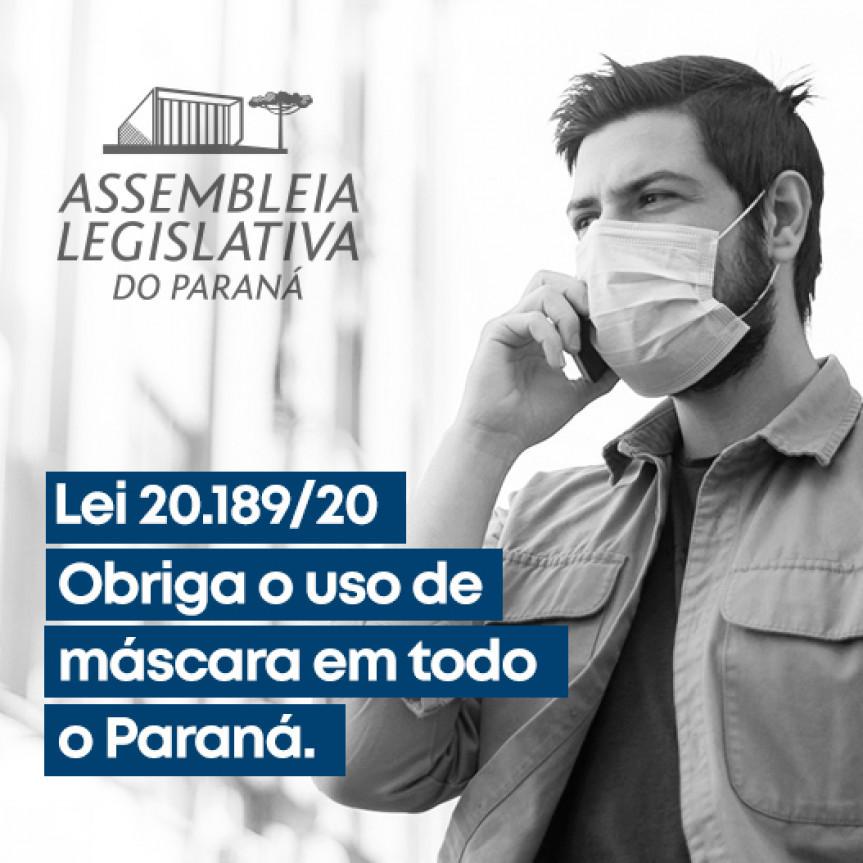 Após ser aprovado na Assembleia Legislativa do Paraná, o Paraná foi um dos primeiros estados a exigir o uso de máscaras pela população como forma de combater a contaminação pelo COVID-19.