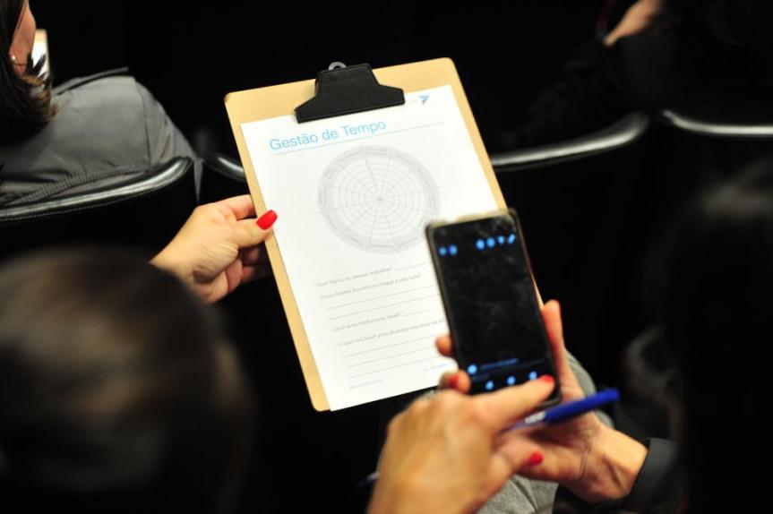Durante workshop sobre gestão do tempo, participantes realizaram uma dinâmica para ranquear qual o nível de aproveitamento do tempo.