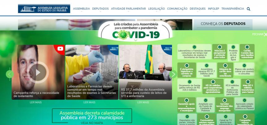 Novidade no site da Assembleia Legislativa do Paraná amplia a transparência das medidas aprovadas pelos deputados para o enfrentamento ao coronavírus.
