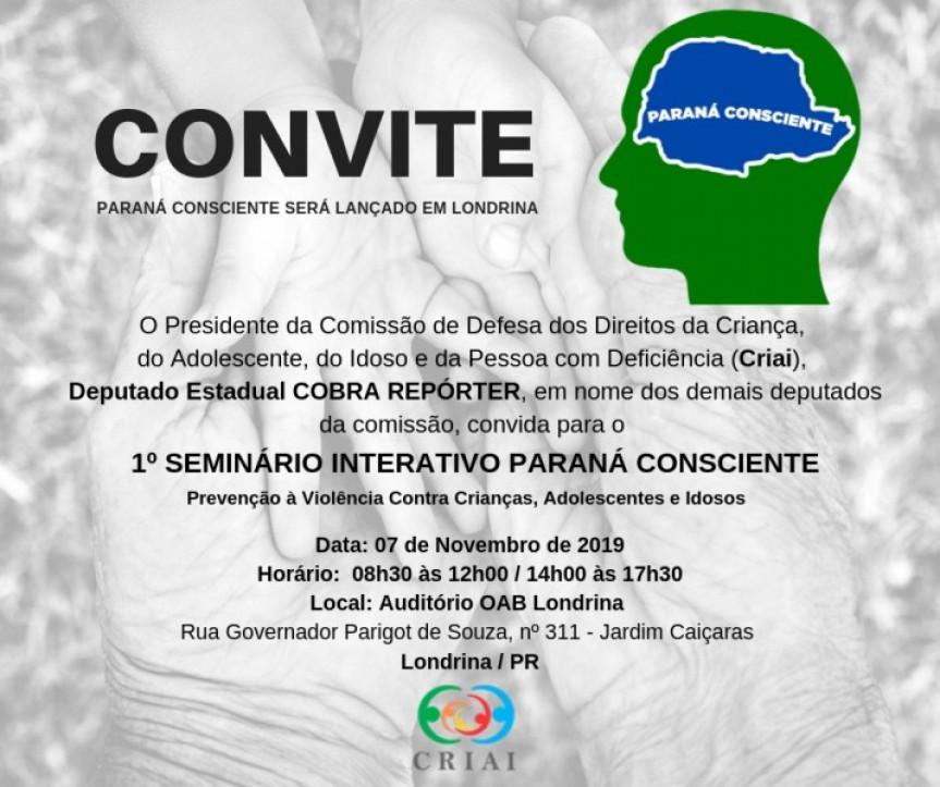 Paraná Consciente será lançado em Londrina com a presença de autoridades e especialistas