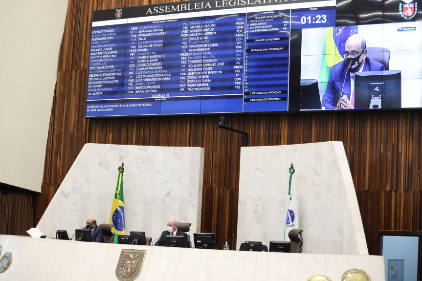 O secretário de Estado da Fazenda, Renê Garcia Júnior, esteve na Assembleia Legislativa do Paraná nesta terça-feira (23) para a audiência de prestação de contas do Governo do Estado.