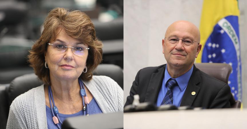 Deputada Cristina Silvestri (CDN), procuradora da Mulher na Assembleia Legislativa do Paraná, e deputado Luiz Claudio Romanelli (PSB).