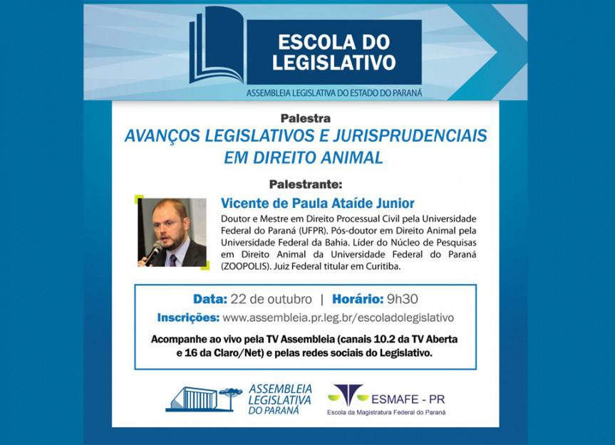 O Juiz federal Vicente de Paula Ataíde Júnior é o palestrante desta quinta-feira na Escola do Legislativo da Assembleia Legislativa do Paraná.