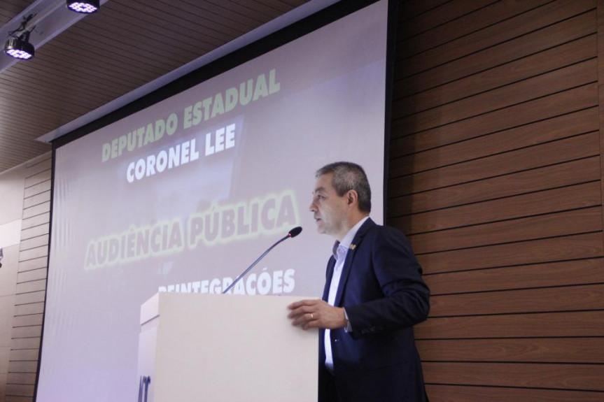 Deputado Coronel Lee (PSL) proponente do debate sobre reintegração de posse que aconteceu na cidade de Cascavel.