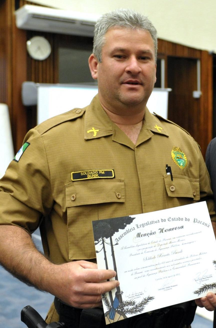 Cabo Renato Bunik fazia parte da equipe do Gabinete Militar da Assembleia Legislativa do Paraná